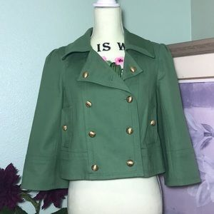 JUICY COUTURE Green W/Gold Crown Button Blazer